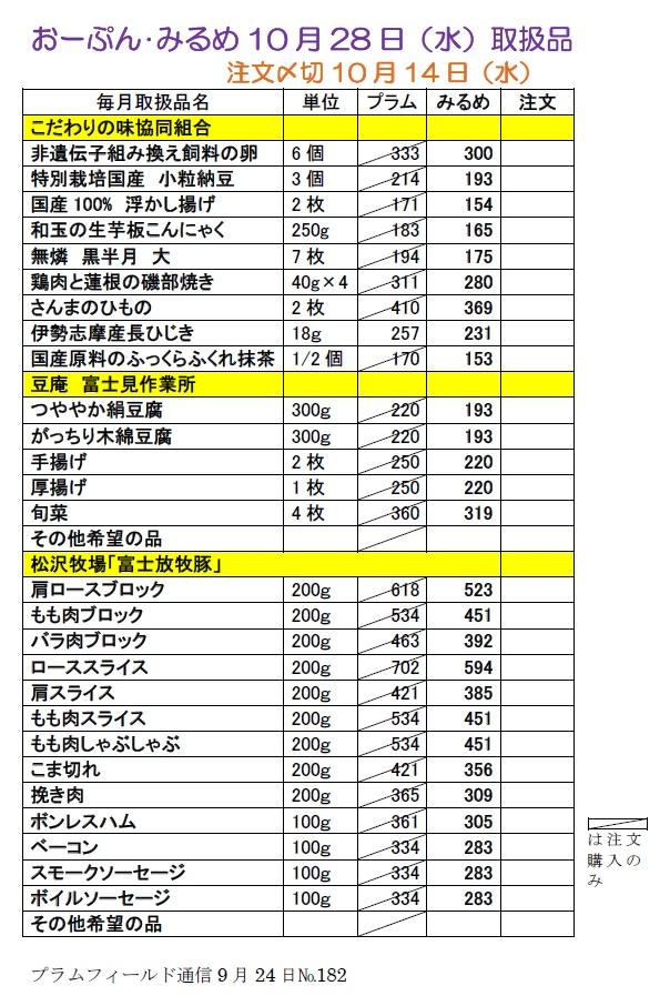 おーぷん・みるめ10月24日の注文表