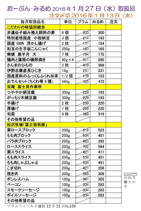 """おーぷん・みるめ""""1月27日注文表"""