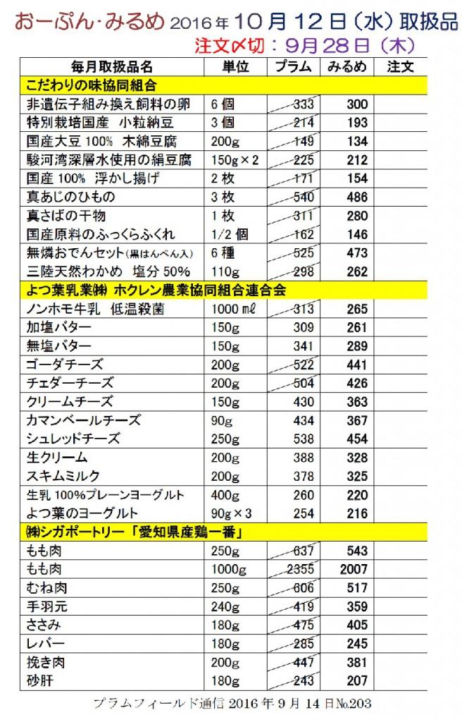 おーぷん・みるめ10月14日の注文表