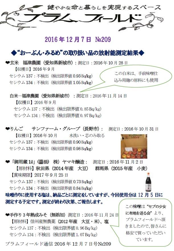 """""""おーぷん・みるめ""""取り扱い品の放射能測定結果報告"""