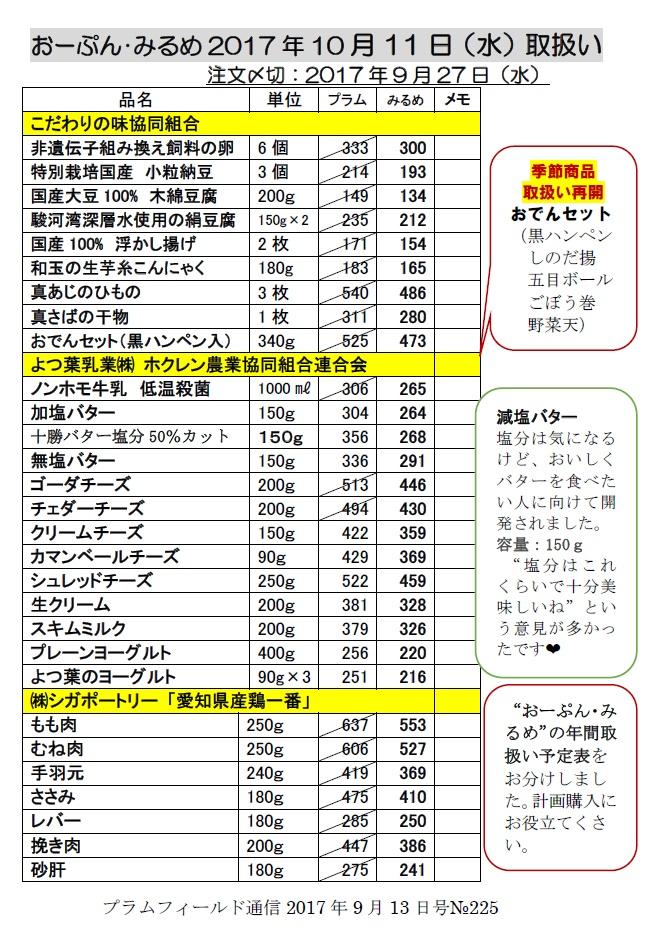 おーぷん・みるめ10月11日の注文表1
