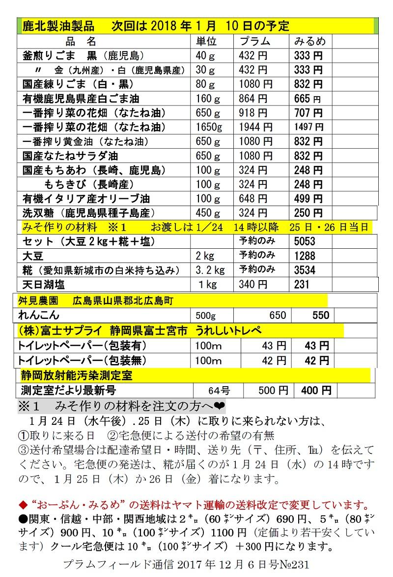 おーぷん・みるめ2018年1月10日注文表2
