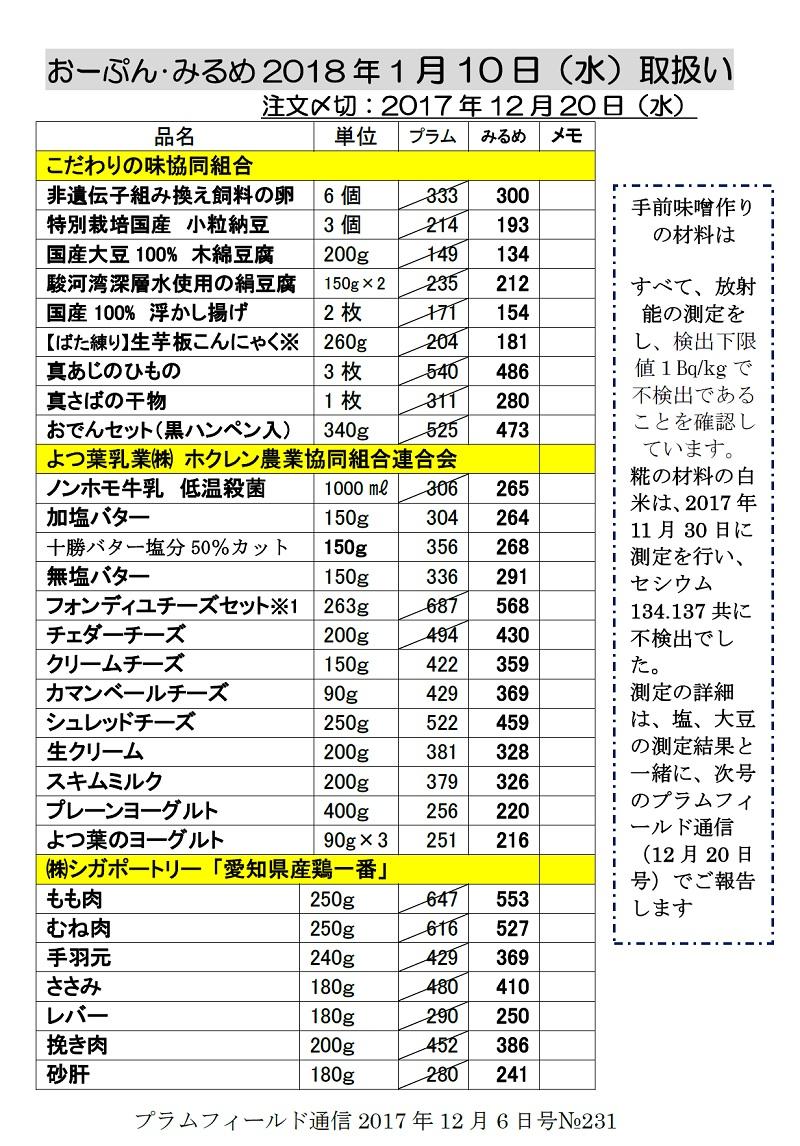おーぷん・みるめ2018年1月10日注文表1