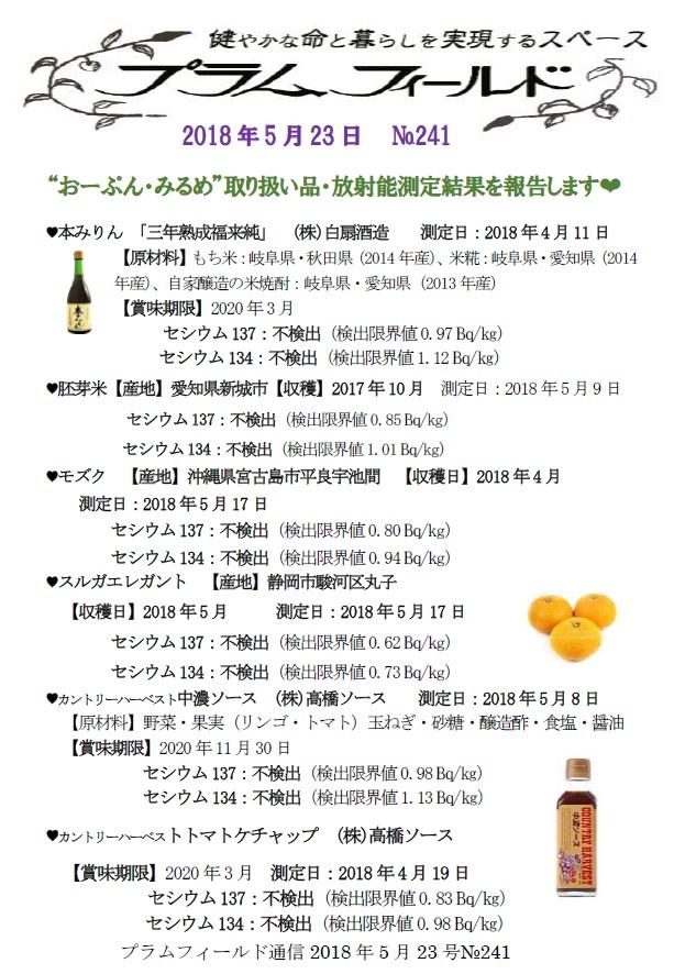 """""""おーぷん・みるめ""""の取り扱い品の放射能測定結果報告"""