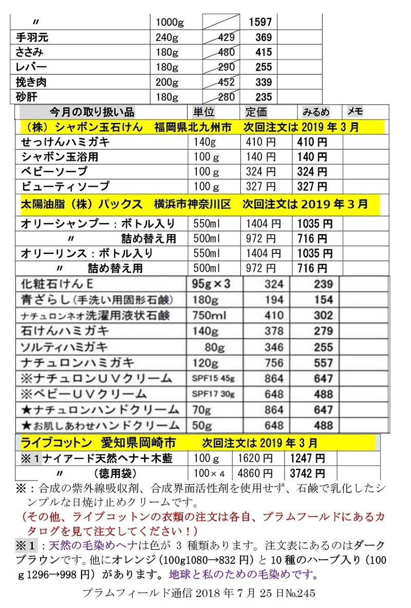 プラム通信7月25日号注文表2