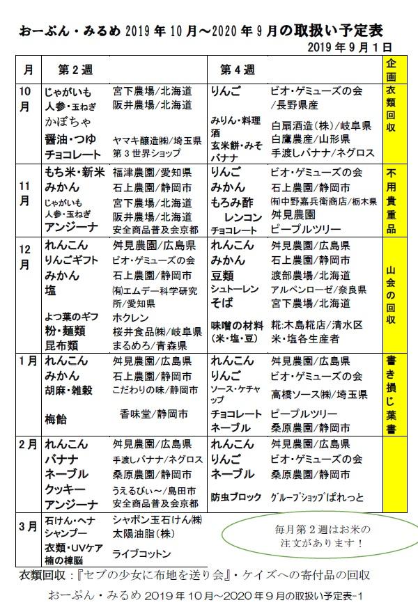 おーぷん・みるめの年間取扱表1