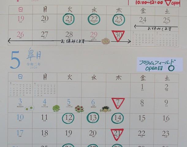 プラムのカレンダー4.5月